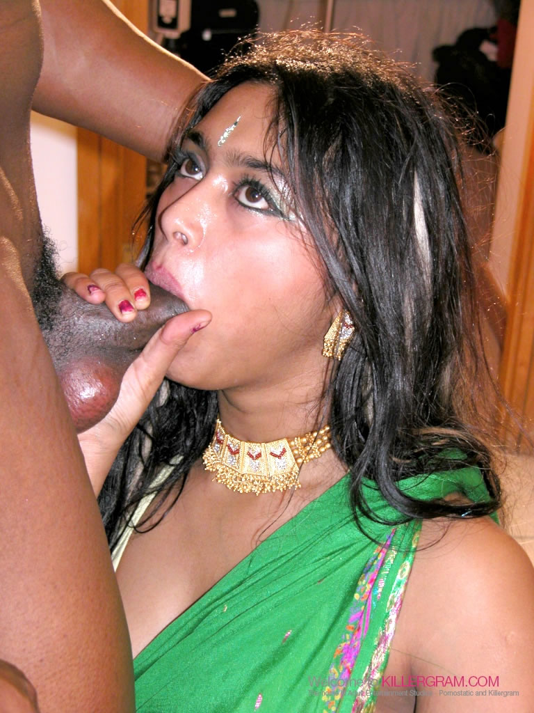 Shy Indian Slut Sucks Off a Black Cock to Cumshot