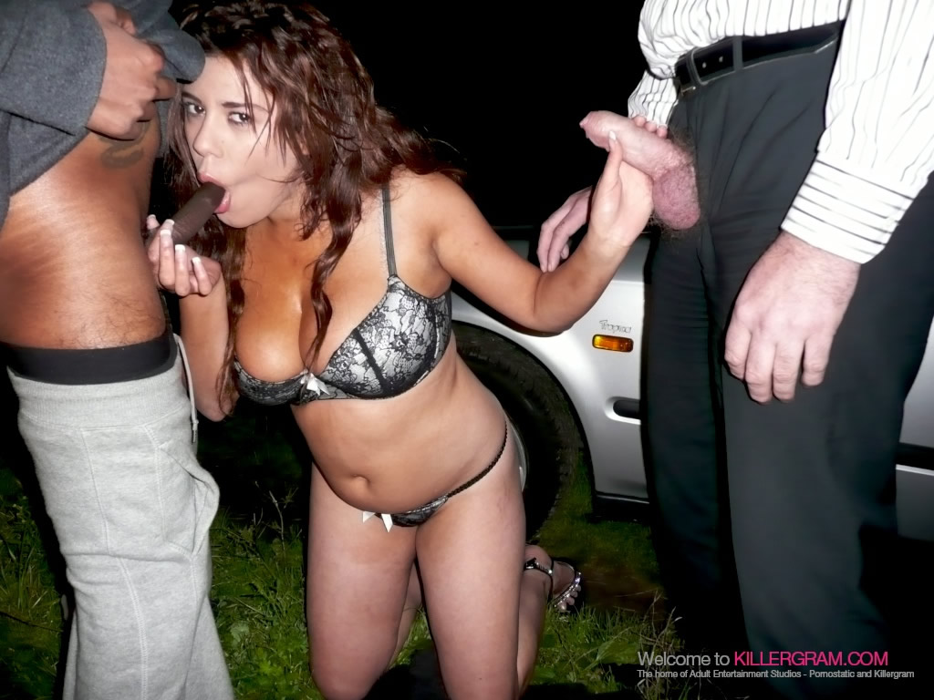 Big Tits Grace Moraji drives to a secluded car park to suck off dogger cock!