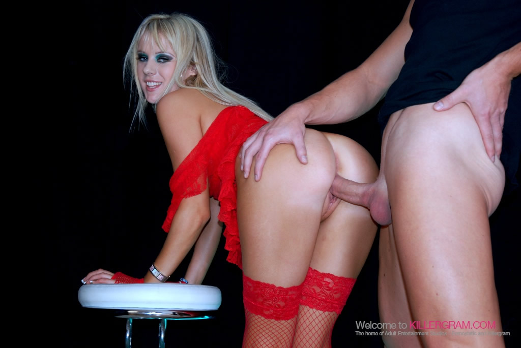 Hot Syren Lee Sexton gets fucked against a bar stool in the swing club