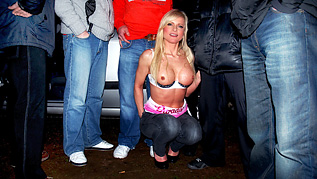 Blonde Milf Sam Shaw gets face spunked by gang of dogger cocks